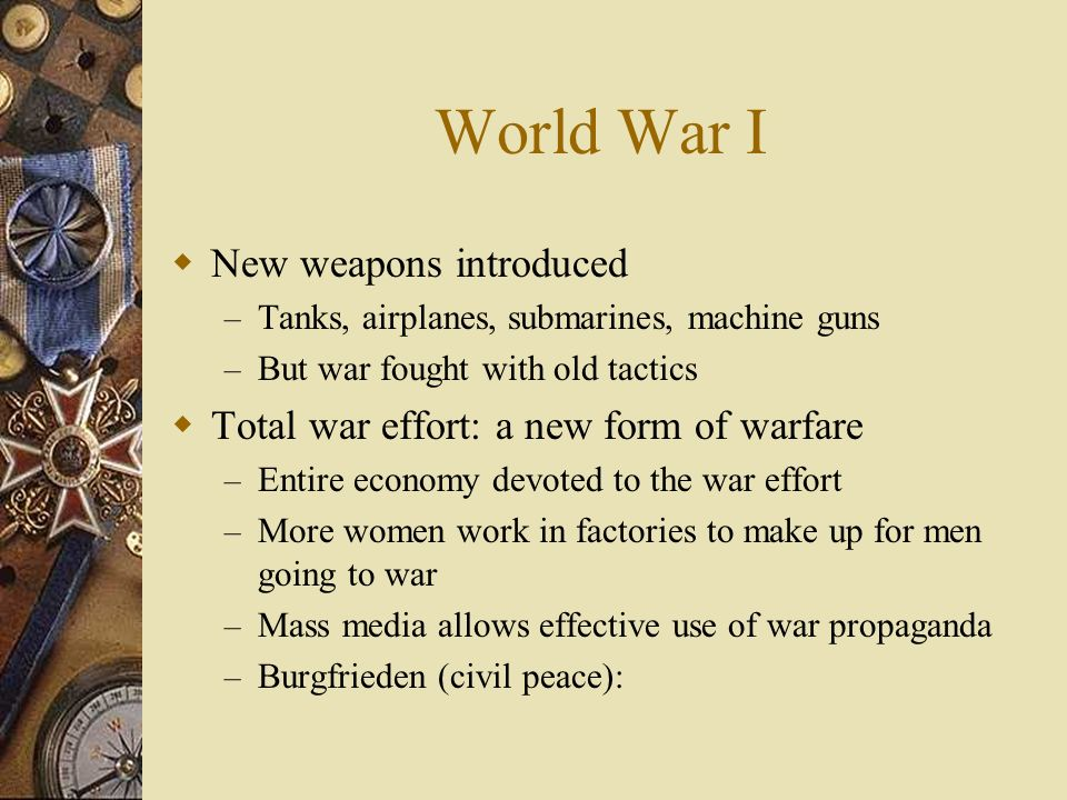 World War I New weapons introduced