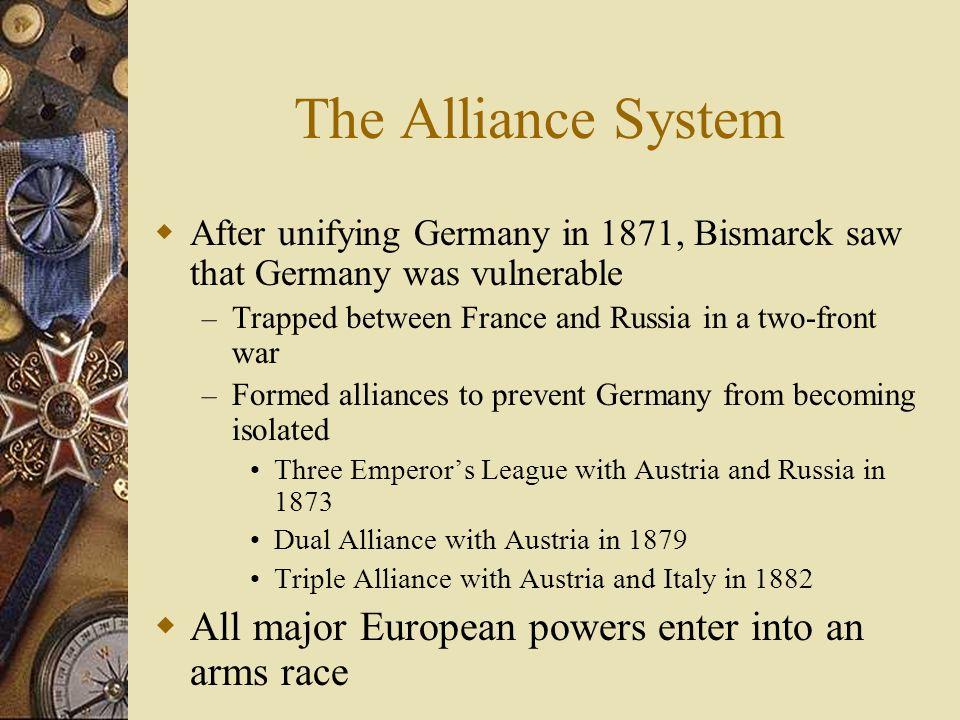 The Alliance System All major European powers enter into an arms race