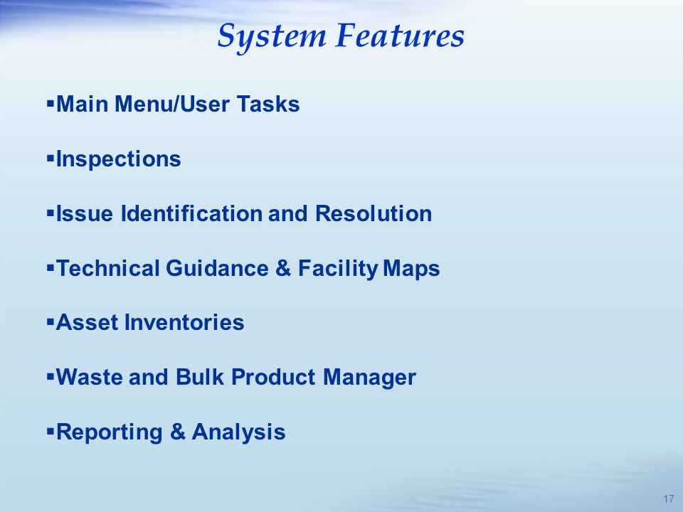 System Features Main Menu/User Tasks Inspections