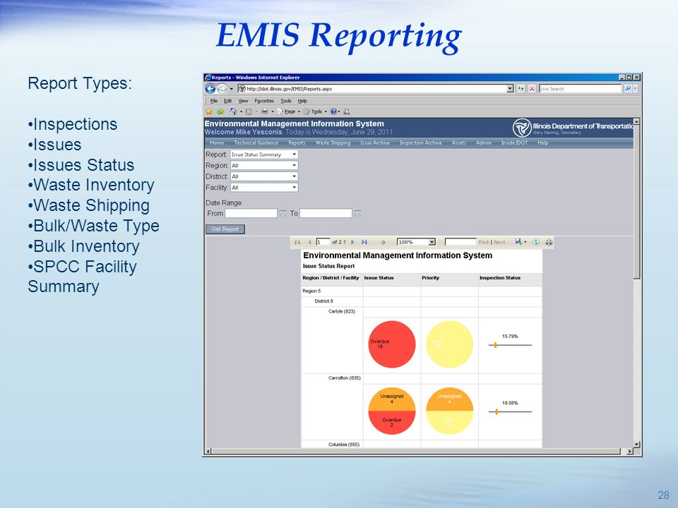 EMIS Reporting Report Types: Inspections Issues Issues Status