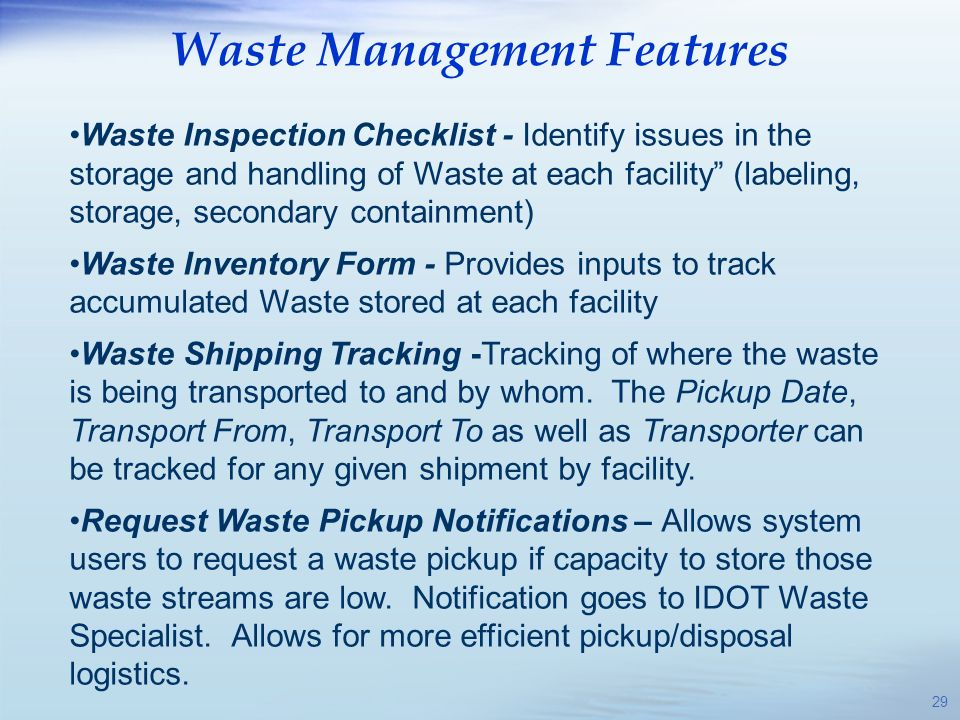 Waste Management Features