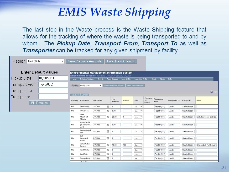 EMIS Waste Shipping