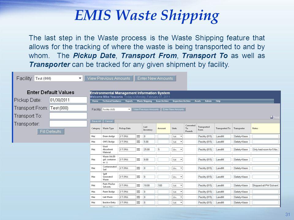 EMIS Waste Shipping