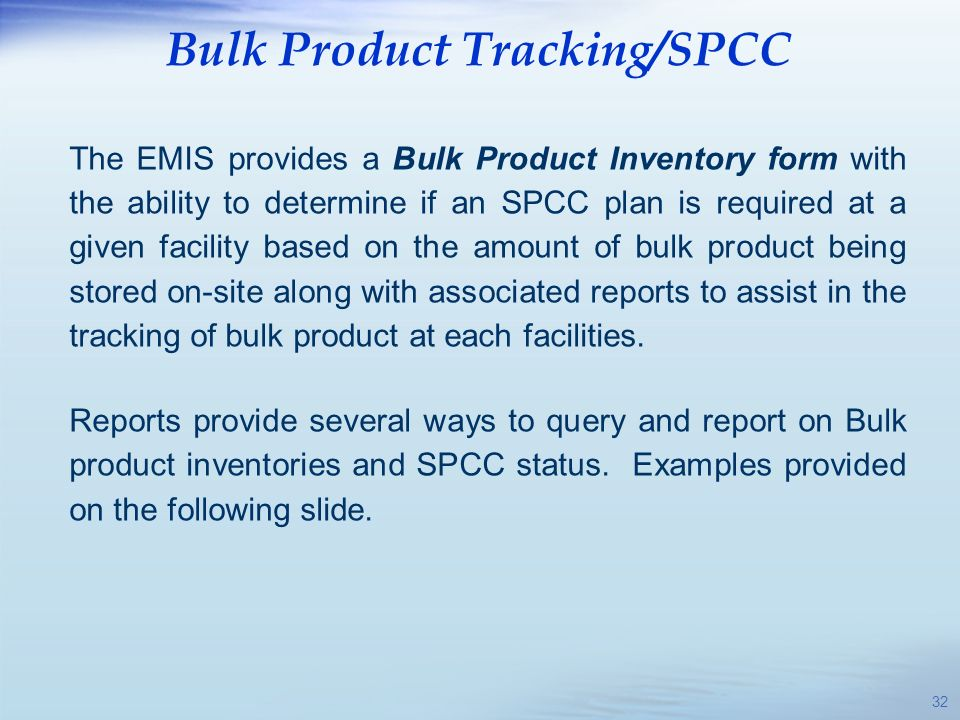 Bulk Product Tracking/SPCC
