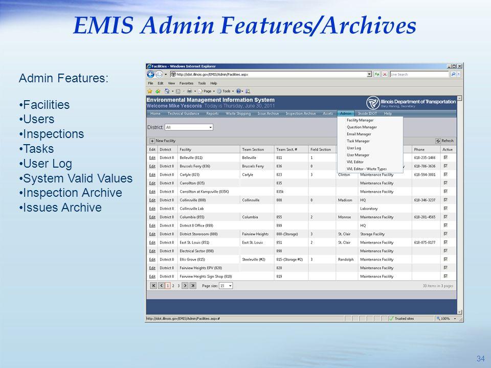 EMIS Admin Features/Archives