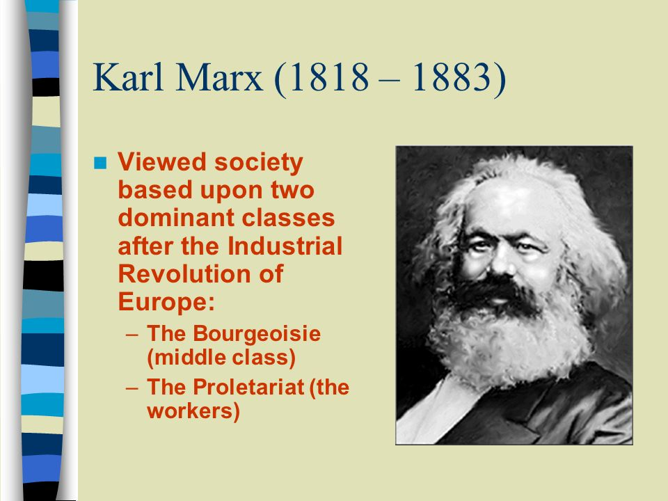 Karl Marx (1818 – 1883) Viewed society based upon two dominant classes after the Industrial Revolution of Europe: