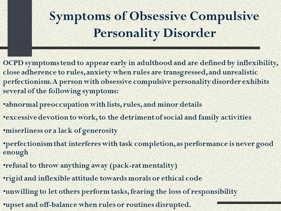 Symptoms of Obsessive Compulsive Personality Disorder