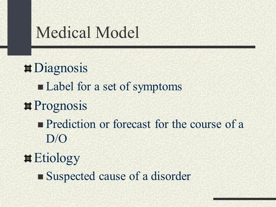 Medical Model Diagnosis Prognosis Etiology Label for a set of symptoms