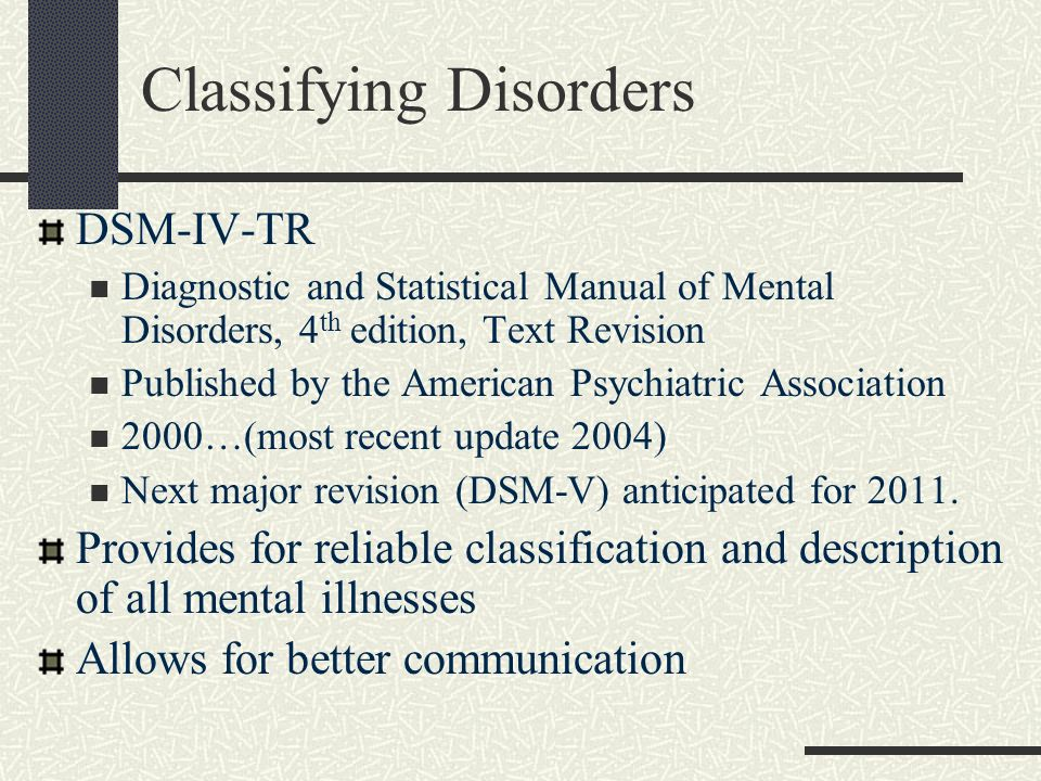 Classifying Disorders