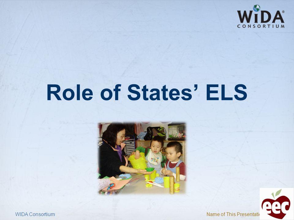 Role of States' ELS WIDA Consortium
