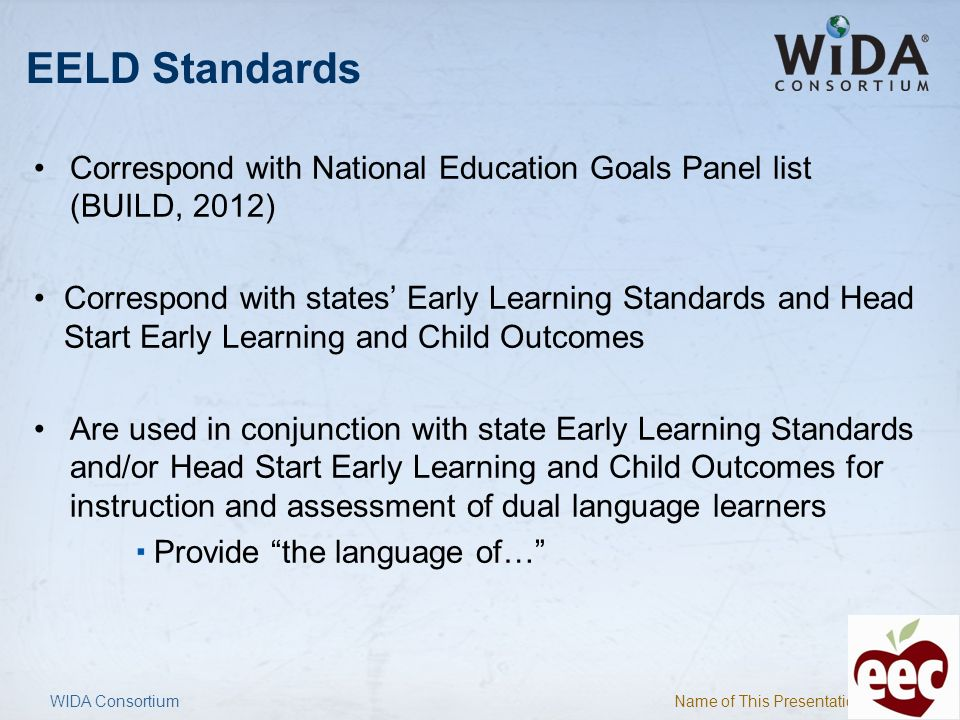 EELD Standards Correspond with National Education Goals Panel list (BUILD, 2012)