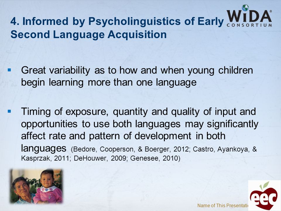 4. Informed by Psycholinguistics of Early Second Language Acquisition