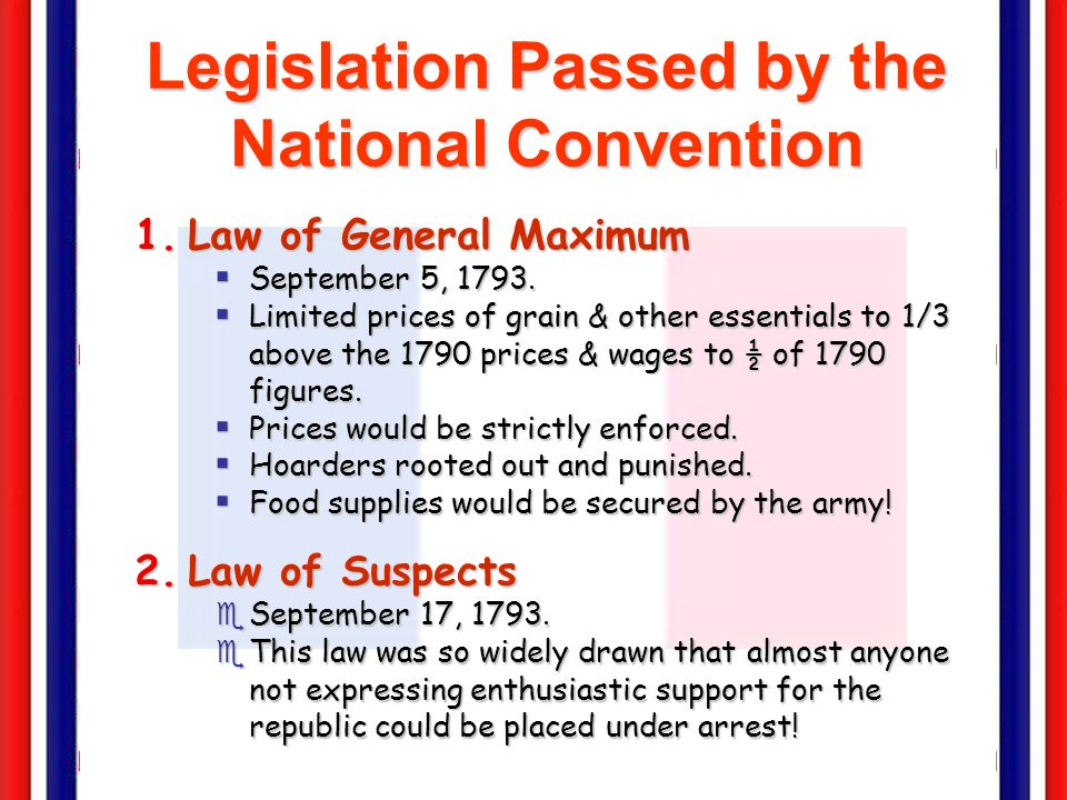 Legislation Passed by the National Convention