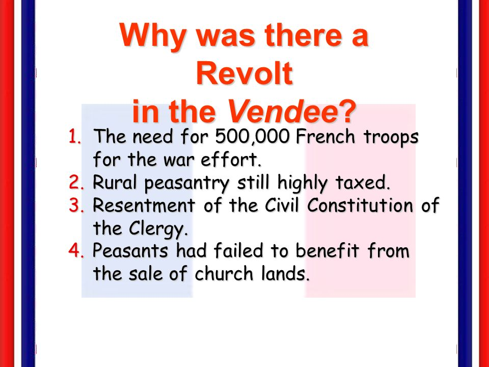 Why was there a Revolt in the Vendee