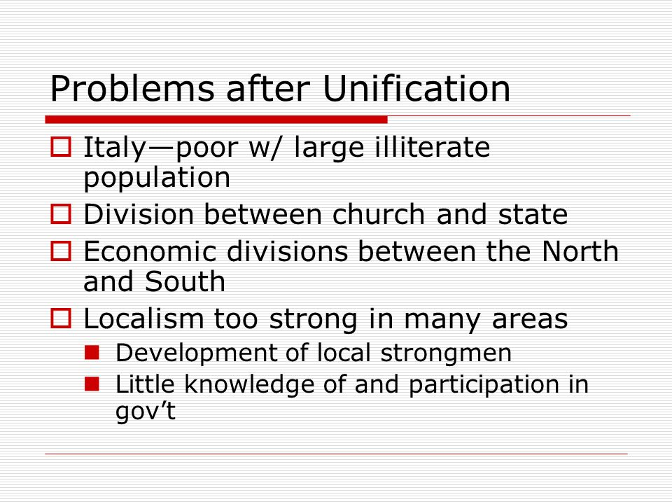 Problems after Unification