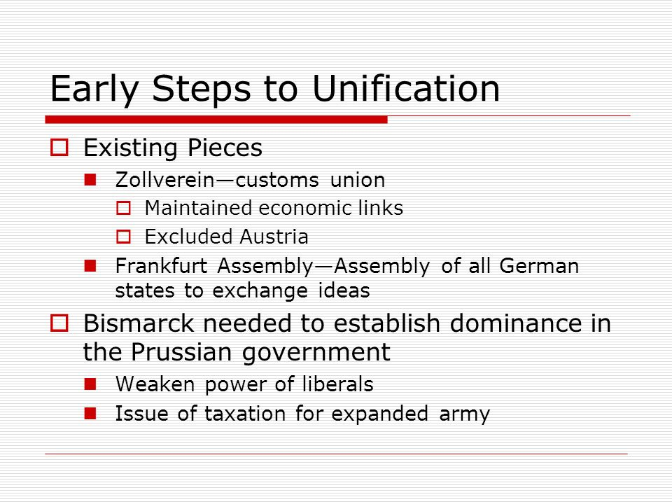 Early Steps to Unification