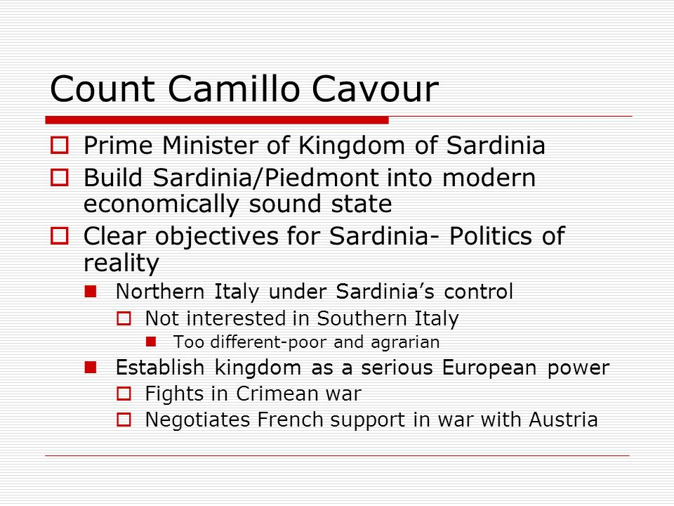 Count Camillo Cavour Prime Minister of Kingdom of Sardinia