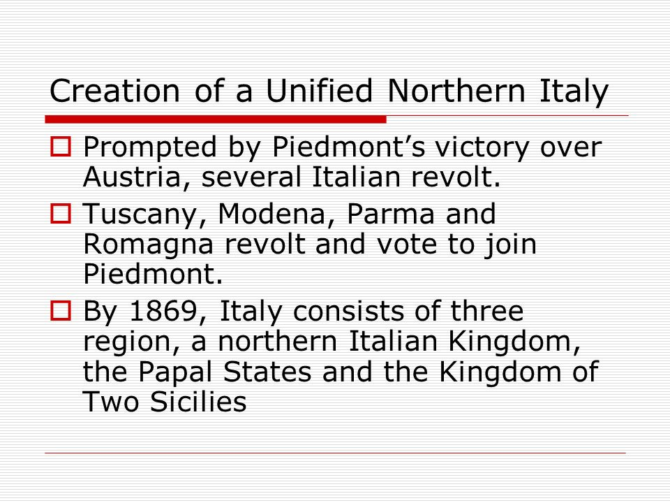 Creation of a Unified Northern Italy
