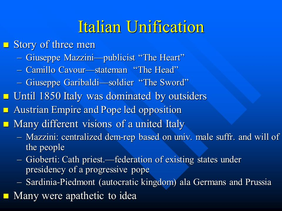 Italian Unification Story of three men