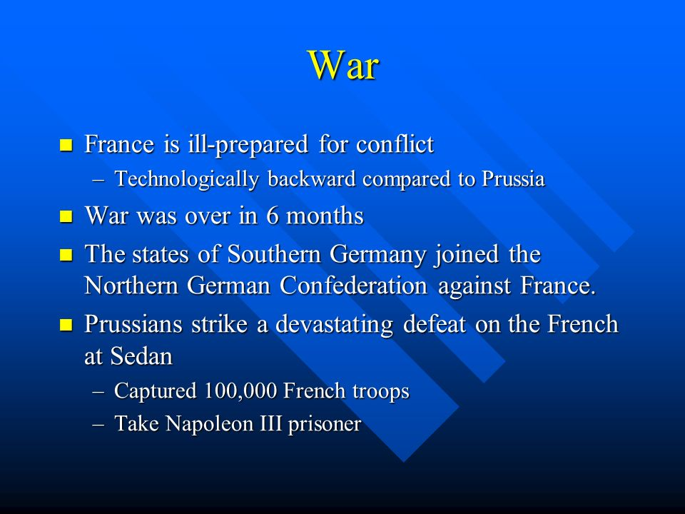 War France is ill-prepared for conflict War was over in 6 months