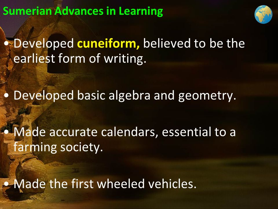 Sumerian Advances in Learning