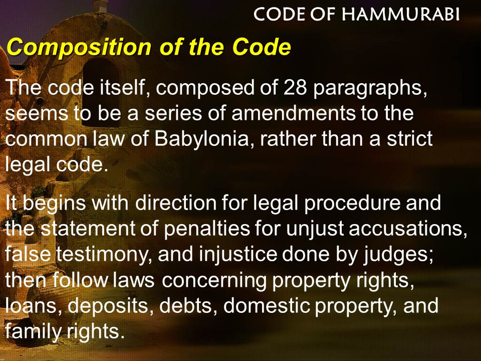 Composition of the Code