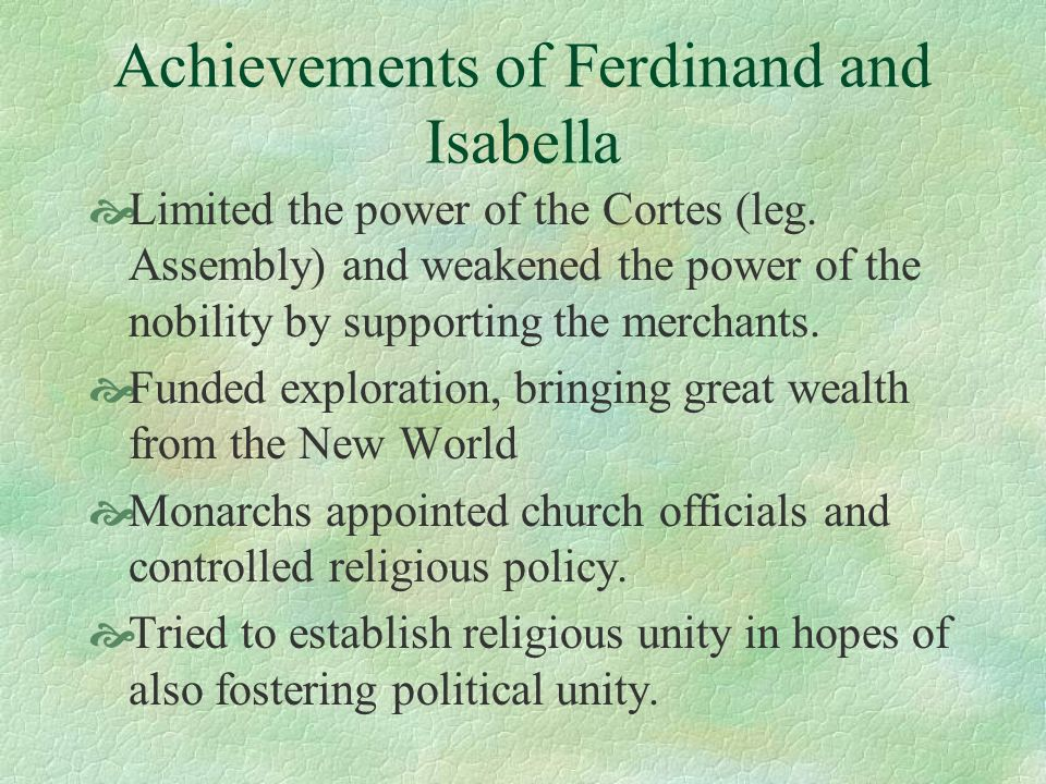 Achievements of Ferdinand and Isabella