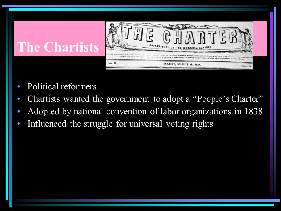 The Chartists Political reformers