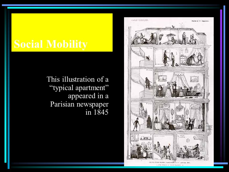 Social Mobility This illustration of a typical apartment appeared in a Parisian newspaper in 1845.