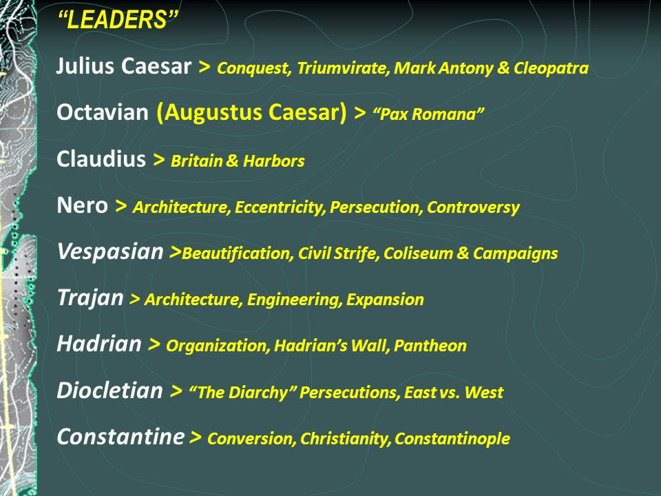 a review of the leadership of caesar augustus Which roman emperor after augustus caesars reign, has similar leadership qualities to augustus caesar answer questions how did the great awakening affect the life of the average british colonist.