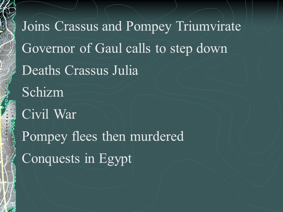 Joins Crassus and Pompey Triumvirate