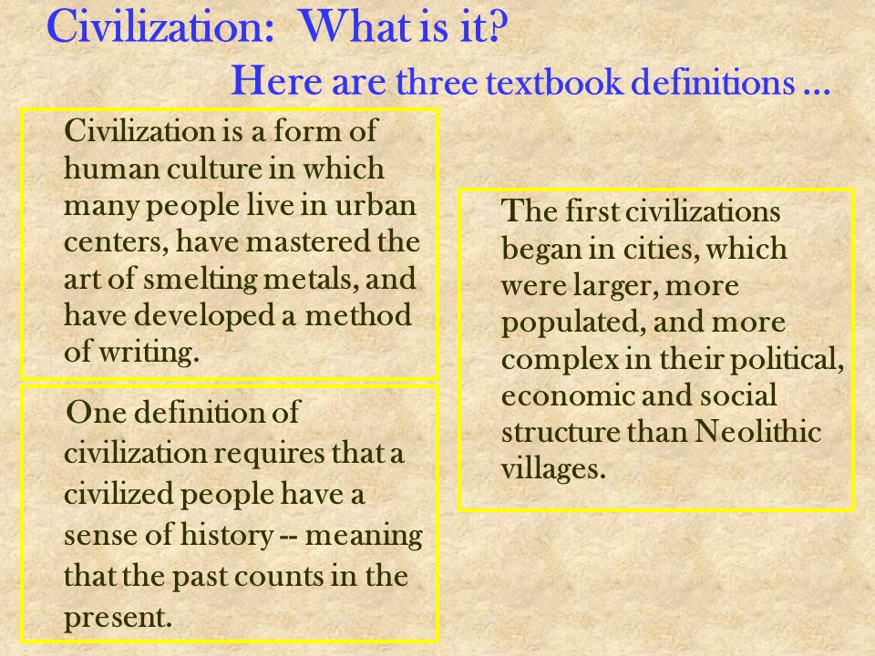 Civilization: What is it Here are three textbook definitions ...