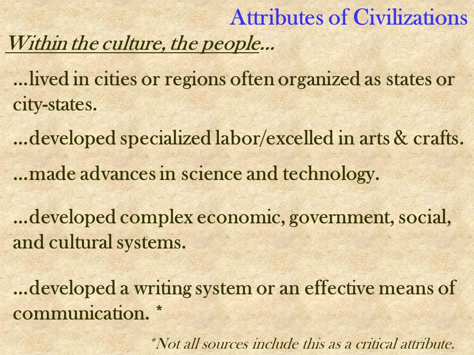Attributes of Civilizations