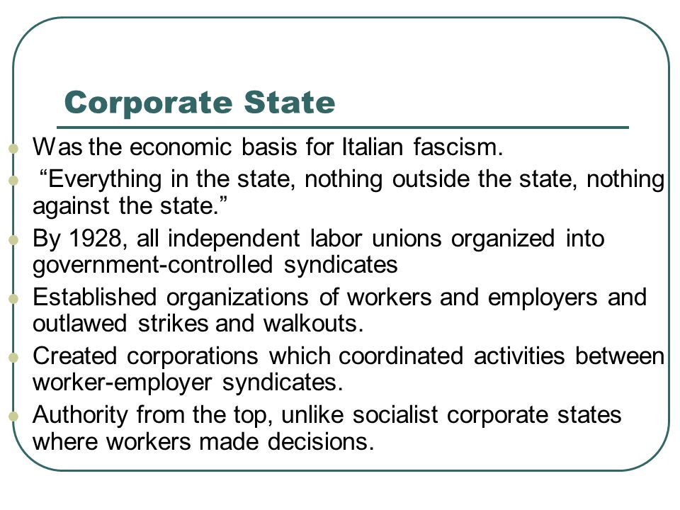 Corporate State Was the economic basis for Italian fascism.