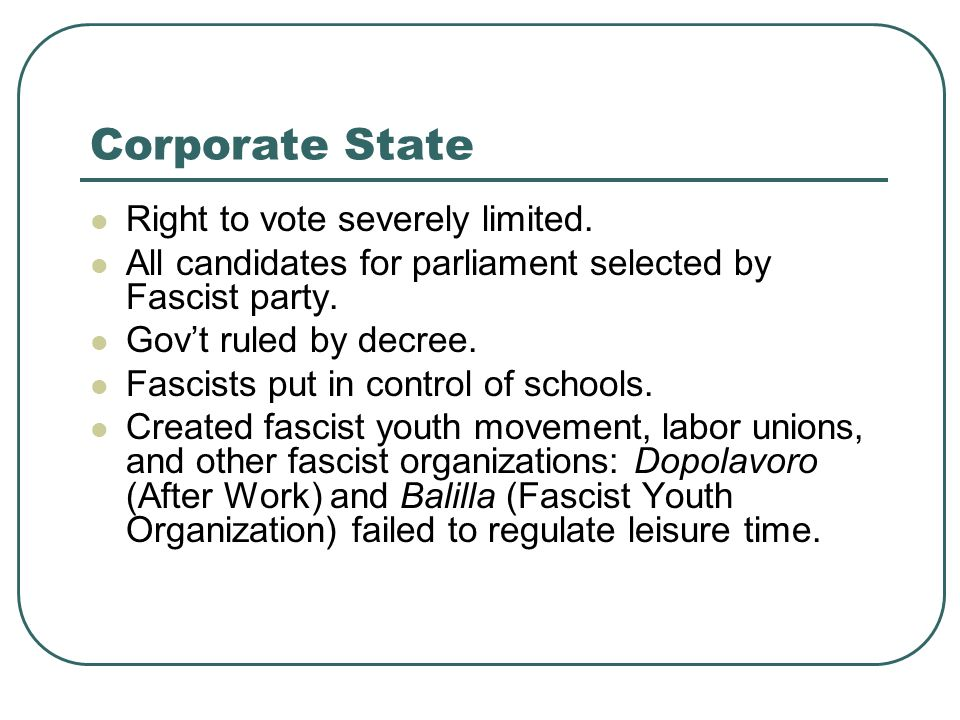 Corporate State Right to vote severely limited.