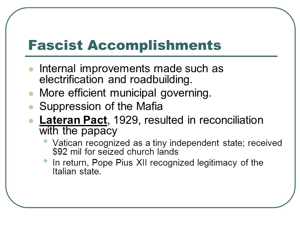Fascist Accomplishments
