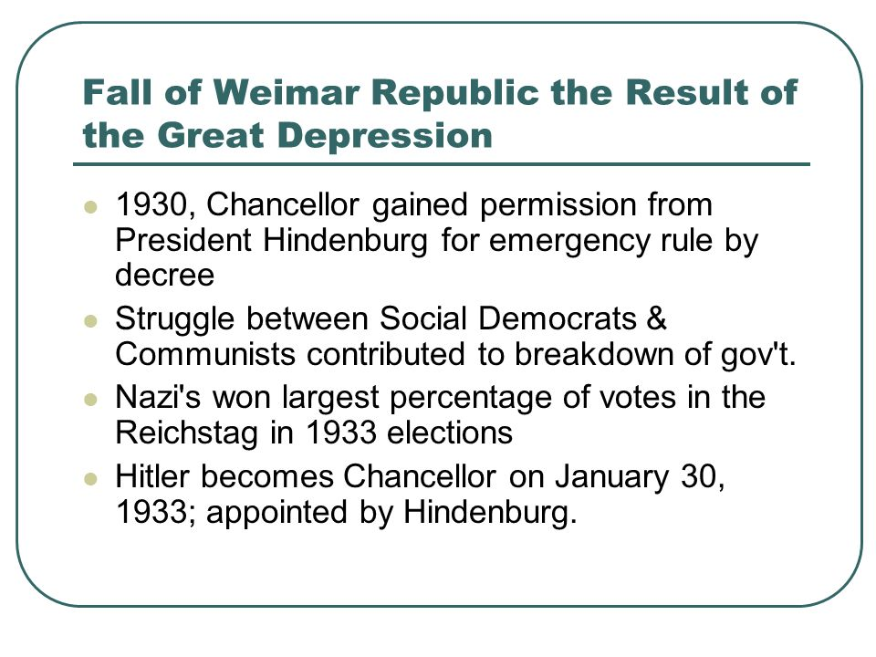 Fall of Weimar Republic the Result of the Great Depression