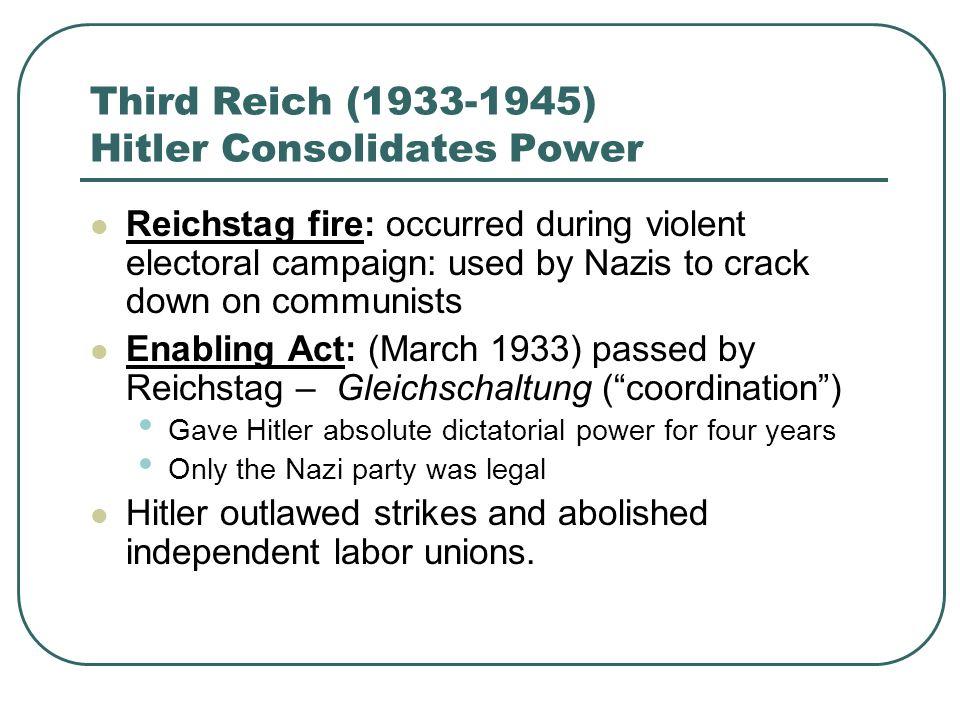 Third Reich (1933-1945) Hitler Consolidates Power