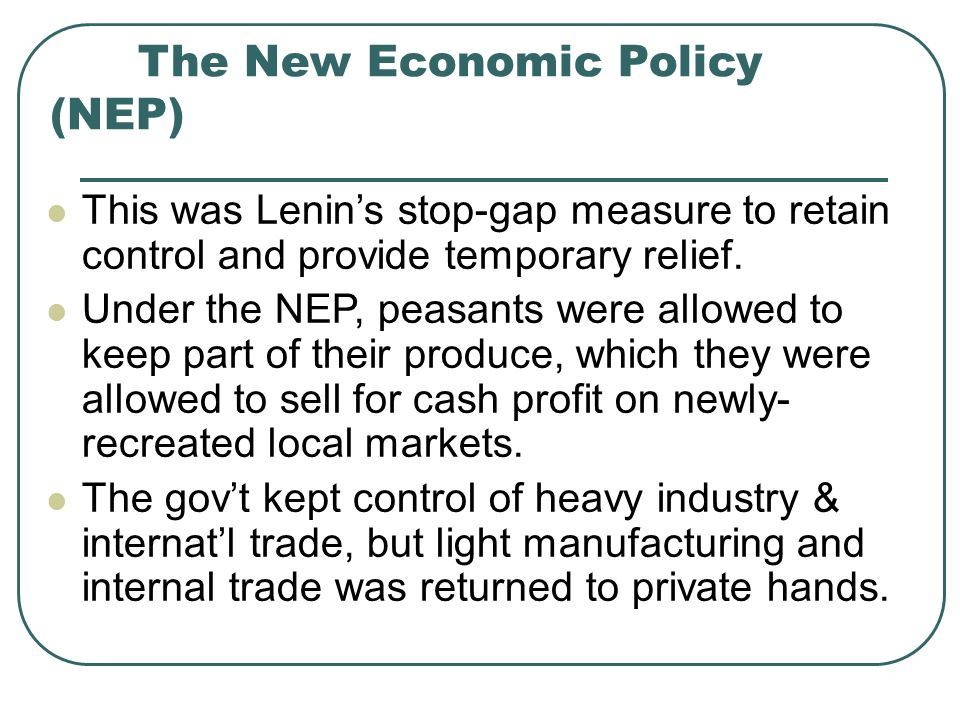 The New Economic Policy (NEP)