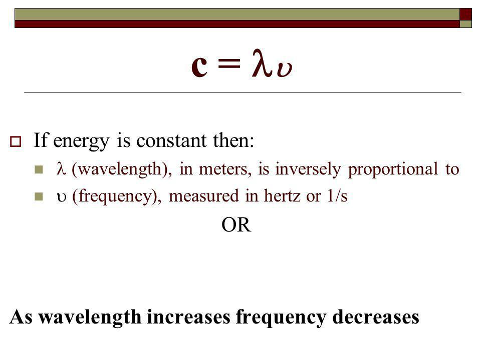 c =  If energy is constant then: OR
