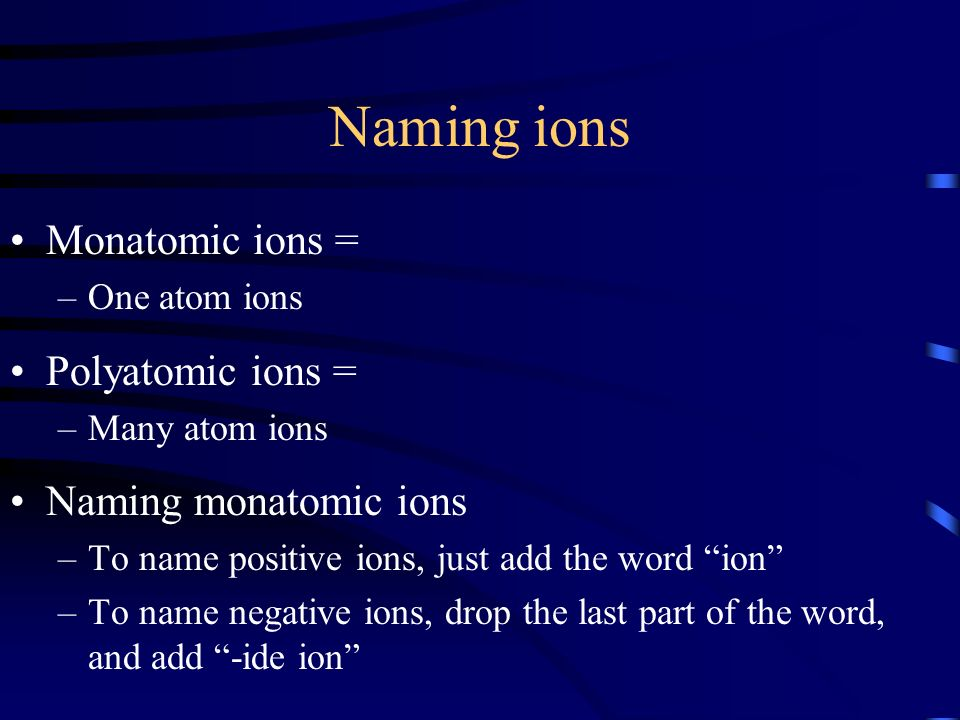 Naming ions Monatomic ions = Polyatomic ions = Naming monatomic ions
