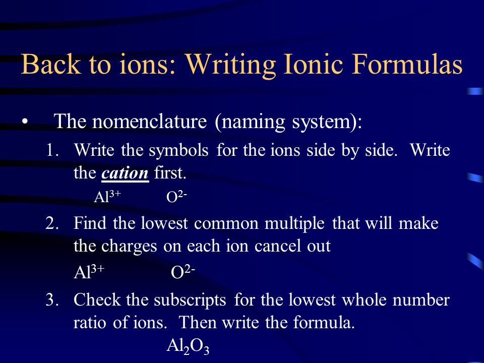 Back to ions: Writing Ionic Formulas
