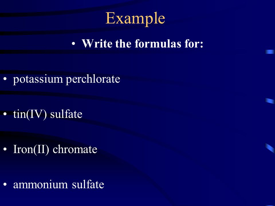 Write the formulas for: