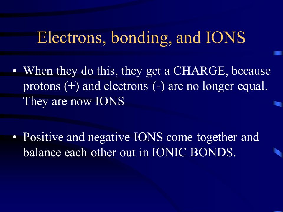 Electrons, bonding, and IONS
