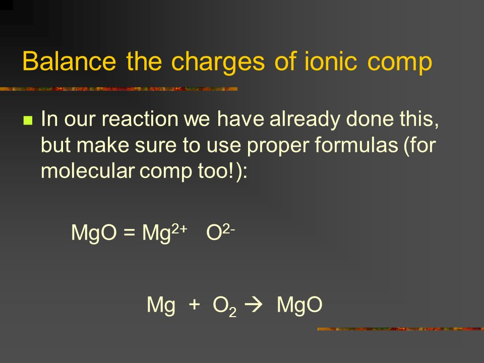 Balance the charges of ionic comp