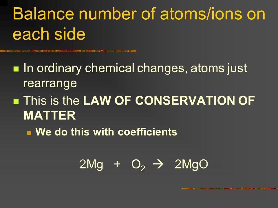 Balance number of atoms/ions on each side