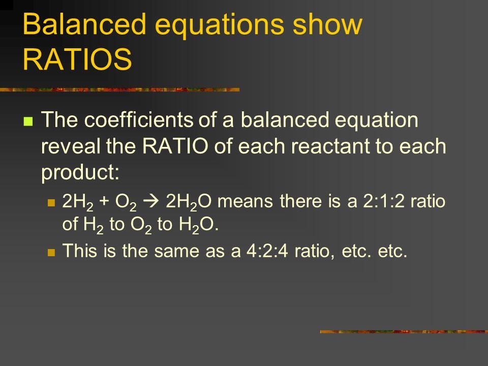 Balanced equations show RATIOS