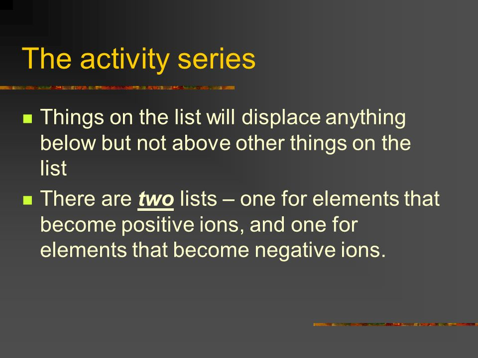 The activity series Things on the list will displace anything below but not above other things on the list.