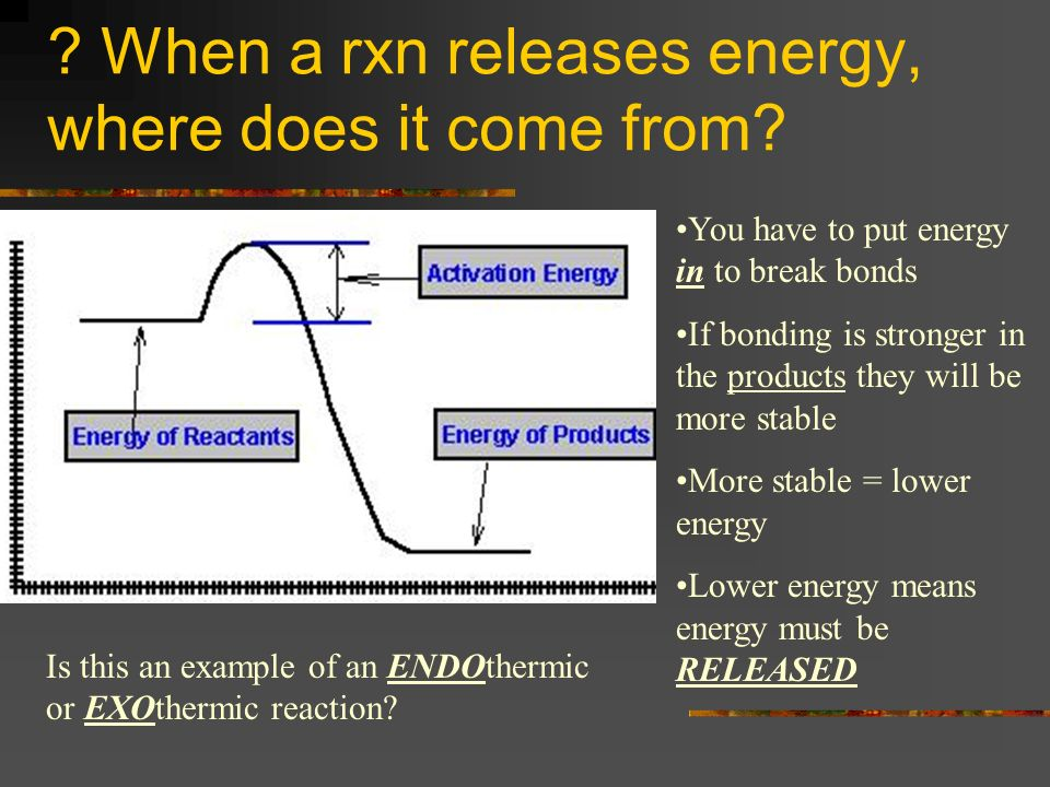 When a rxn releases energy, where does it come from