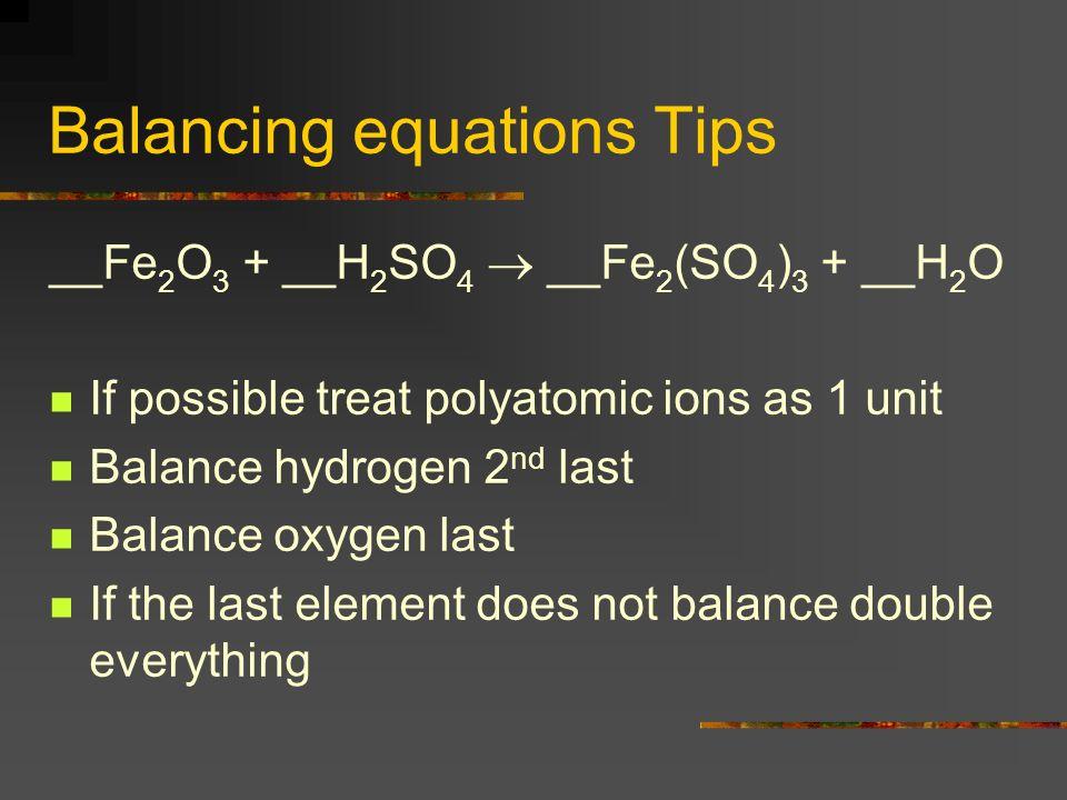 Balancing equations Tips